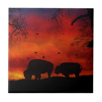 Buffalo in the Sunset Art Tile