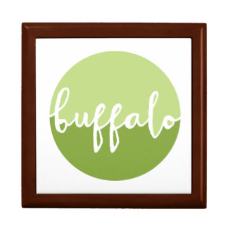 Buffalo, New York | Green Ombre Circle Large Square Gift Box