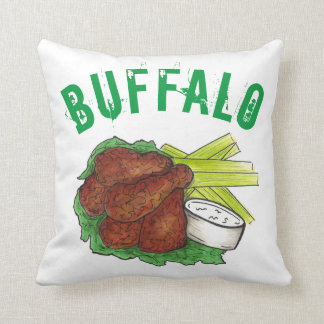 Buffalo New York NY BBQ Barbecue Chicken Wings Cushion