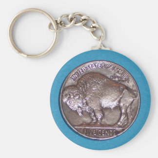 Buffalo Nickel 2 Basic Round Button Key Ring