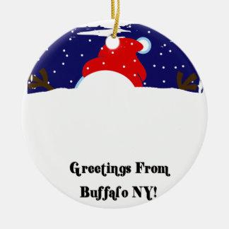 Buffalo NY Snowman Ceramic Ornament