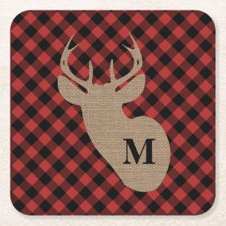 Buffalo Plaid and Burlap Monogram Deer Coasters