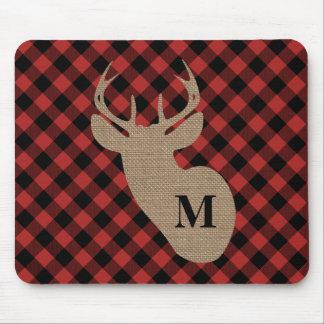 Buffalo Plaid and Burlap Monogram Deer Mouse Pad