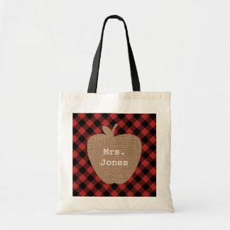 Buffalo Plaid Apple Teacher Bag