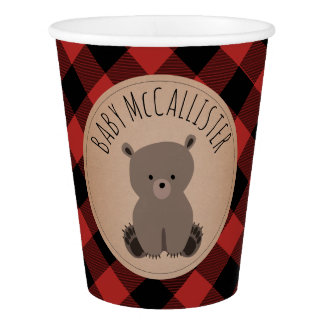 Buffalo Plaid Baby Bear Baby Shower Cup