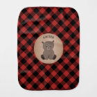 Buffalo Plaid Baby Bear Burp Cloth