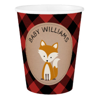 Buffalo Plaid Baby Fox Baby Shower Cup