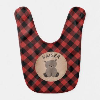 Buffalo Plaid Bear Baby Bib