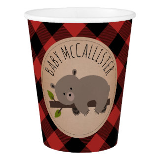 Buffalo Plaid Bear Baby Shower Cup