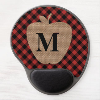 Buffalo Plaid Burlap Apple Teacher Gel Mouse Pad