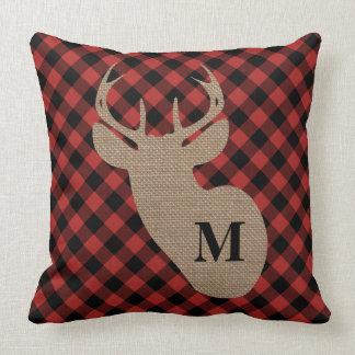 Buffalo Plaid Burlap Deer Head Monogram Throw Pillow