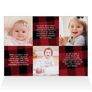 Buffalo Plaid Christmas Newsletter Photo Gallery Card