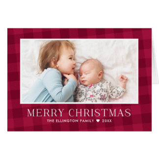 Buffalo Plaid Christmas Newsletter Photo Gallery Card