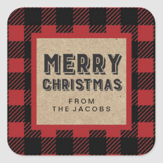 Buffalo Plaid Customisable Merry Christmas Sticker