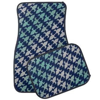 Buffalo Plaid Damask Mint Green Midnight Blue Floor Mat