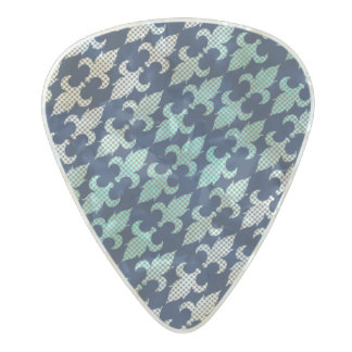Buffalo Plaid Damask Mint Green Midnight Blue Pearl Celluloid Guitar Pick