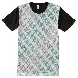 Buffalo Plaid Damask Mint Green Ombre Shade Fleur All-Over Print T-Shirt