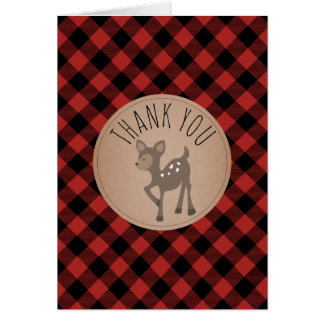 Buffalo Plaid Deer Baby Shower Thank You Card