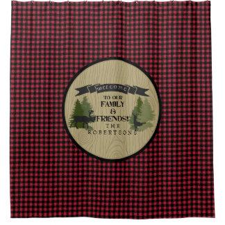 Buffalo Plaid Forest Mountain Lake Cabin Decor Shower Curtain