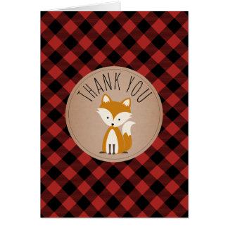 Buffalo Plaid Fox Baby Shower Thank You Card