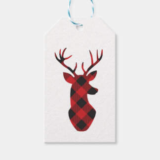 Buffalo plaid holiday gift tags