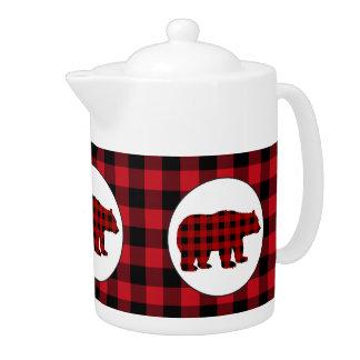 Buffalo plaid kitchen bear teapot