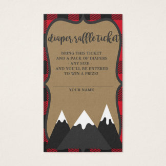 Buffalo Plaid Lumberjack Baby Shower Diaper Raffle Business Card