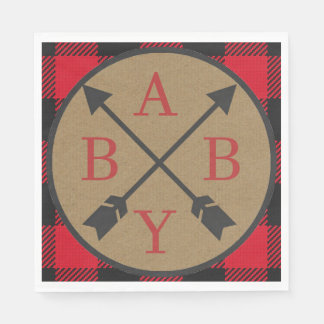 Buffalo Plaid Lumberjack Baby Shower Napkin Disposable Napkins