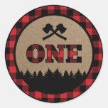 Buffalo Plaid Lumberjack First Birthday Sticker