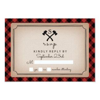 Buffalo Plaid Monogrammed Axe RSVP Card