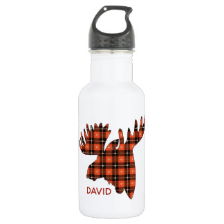 Buffalo Plaid Moose Head Silhouette 532 Ml Water Bottle