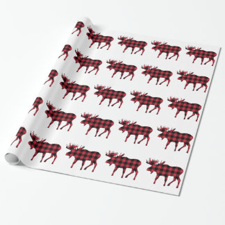 Buffalo Plaid Moose, Lumberjack Style, Red Black Wrapping Paper