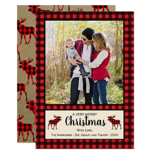 Buffalo Plaid & Moose Rustic Christmas Photo Card