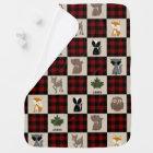 Buffalo Plaid Patchwork Inspired Woodland Animals Baby Blanket