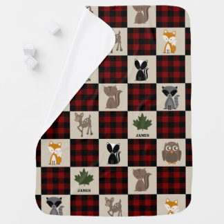 Buffalo Plaid Patchwork Inspired Woodland Animals Baby Blanket