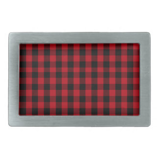 Buffalo Plaid Pattern in Red and Black Belt Buckle