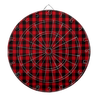 Buffalo Plaid Pattern in Red and Black Dartboard