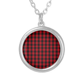 Buffalo Plaid Pattern in Red and Black Silver Plated Necklace