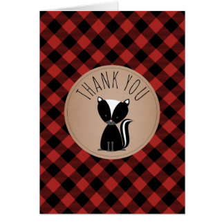 Buffalo Plaid Skunk Baby Shower Thank You Card