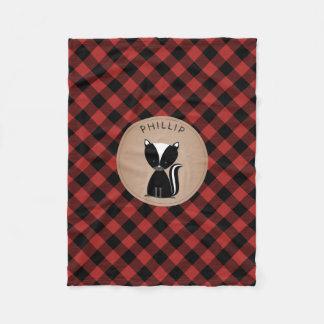 Buffalo Plaid Skunk Kids Fleece Blanket