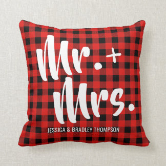 Buffalo Plaid Tartan Mr. and Mrs. Wedding Cushion
