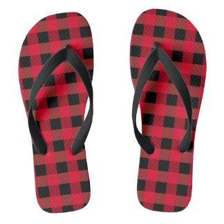Buffalo plaid thongs