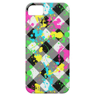 Buffalo Plaid with Neon Paint Splatter iPhone 5 Cases