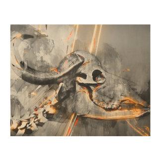 Buffalo skull art - Wall art print Wood Canvases