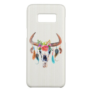 Buffalo Skull Feather And Flowers Beige Tribal Case-Mate Samsung Galaxy S8 Case