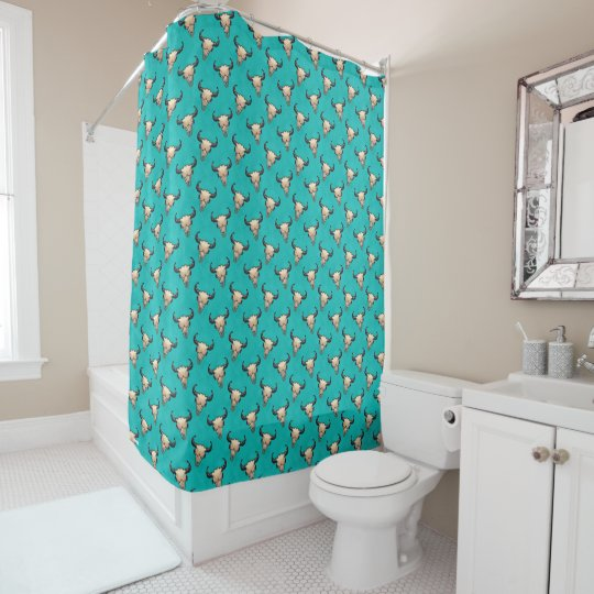 Buffalo Skull Painting on Turquoise Shower Curtain