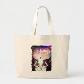Buffalo Skull Space Cosmos Dream Large Tote Bag
