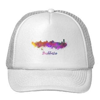 Buffalo skyline in watercolor cap