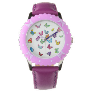 Bufferfly Custom Bezel with Purple Ribbons Watch