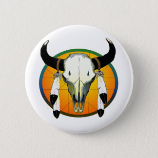 bufflalo skull 6 cm round badge